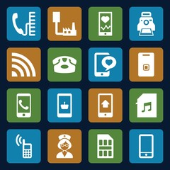 Set of 16 phone filled icons