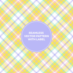 Pastel Yellow Purple Tartan Plaid Seamless Vector Pattern with Label Frame. Copy Space for Text. Elegant Design Template for Packaging, Covers or Gift Wrapping. Perfect for Easter or Beauty Products.