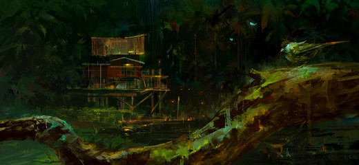 Drawing, old hut in the swamp at night