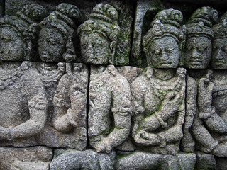 Detail of Carving at Borobudur Temple in Indonesia