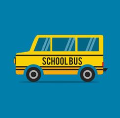 School bus in flat style. Mini bus vector illustration. Stock.