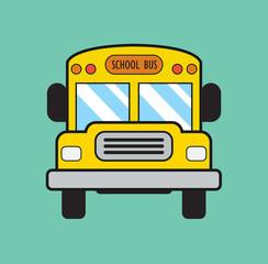 School bus in flat style. School bus vector illustration. Stock.