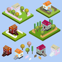 Isometric buildings located. With garden, fence, trees, nature isolated