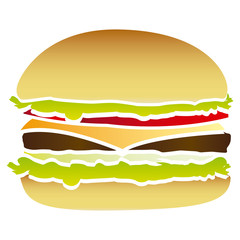 colorful picture hamburger food fast icon vector illustration