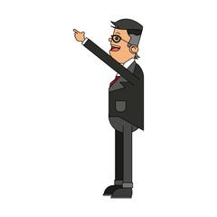 businessman pointing up icon image vector illustration design