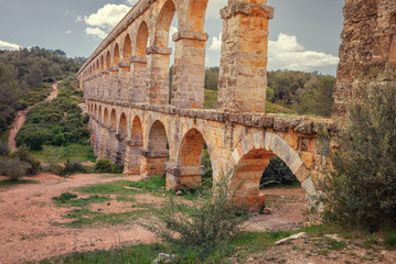 Devil's Bridge Roman, aqueduct built near Tarragona, Spain