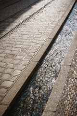 Freiburg, Germany, street lined with tiny canal