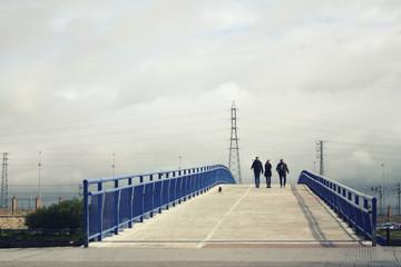 people walking on a pedestrian bridge