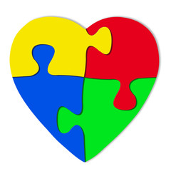 Colorful puzzle in shape of heart on white background, 3d illustration