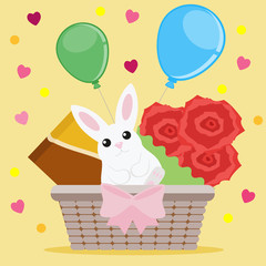 Holiday greeting card with a wicker basket, small white hare, chocolate and bouquet of flowers on a yellow background with hearts. Vector illustration, EPS10.