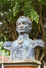Bust of revolutionary figher Simon Bolivar in the central plaza of Cabrera, Colombia.