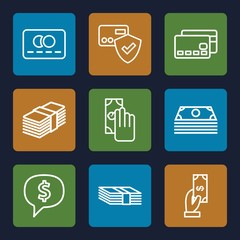Set of 9 payment outline icons