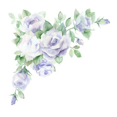 Watercolor painting. Corner floral arrangement with lilac pastel roses on a white background.