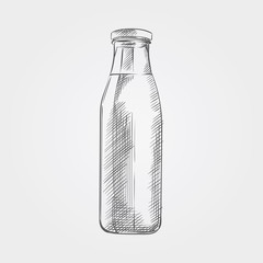 Hand drawn bottle of  milk sketch isolated on white background. Sketch style vector illustration