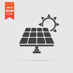 Solar panel icon in flat style isolated on grey background.