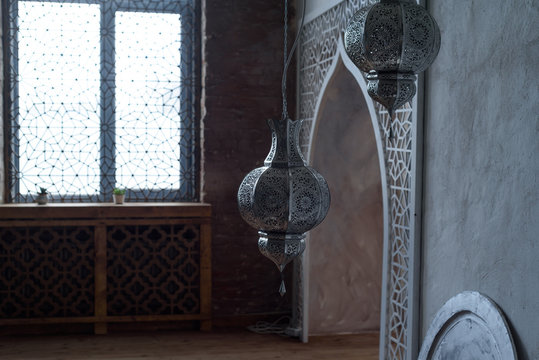 Interior of the living room in the Moroccan oriental style