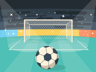 Cartoon Football Soccer Field Flat Design Style for Poster Card.