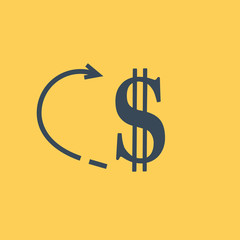 Dollar money icon isolated sign symbol. Flat Vector illustration.