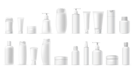Set vector blank templates of empty and clean white plastic containers: bottles with spray, dispenser, cream jar, tube. Realistic mock-up of cosmetic package. Isolated on white background.