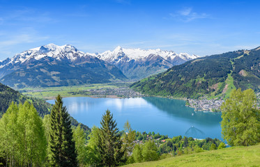 Zell am See at spring, snowy mountain tops, Salzburg, Austria