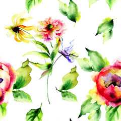Seamless pattern with floral watercolor illustration