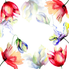 Template for floral card with spring flowers