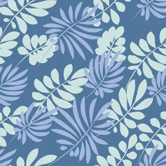 Tender pale blue and green tropical leaves seamless pattern. Decorative summer nature surface design. vector illustration for fabric, print, wrapping paper