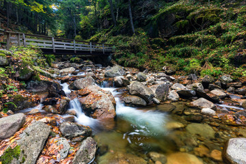Water stream and falls in Franconia notch state park, New Hampshire, USA