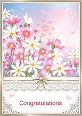 Greeting card with flowers in a frame with an ornament. Vector illustration