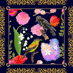 Silk scarf pattern with blooming spring flowers and fantasy birds.