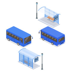 Isometric flat 3D concept vector illustration city bus stop with street light at the rear and in front. City or school bus. Set of collection.