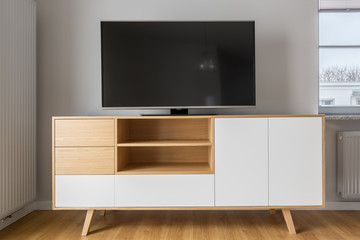 Tv screen on cabinet