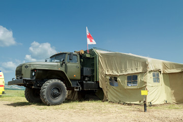 Army mobile hospital deployed in the field