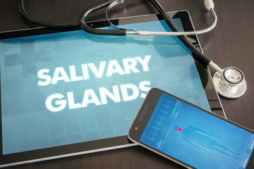 Salivary glands (gastrointestinal disease related) diagnosis medical concept on tablet screen with stethoscope