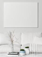 Mock up poster above white sofa, 3d illustration