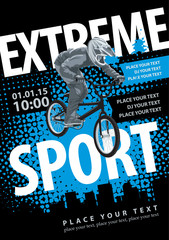 Vector poster with a bicyclist in the city and an inscription extreme sports