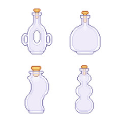 Pixelated vases set glass drink bottle - isolated vector illustration