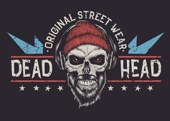 Bearded skull label