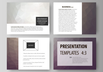 Set of business templates for presentation slides. Easy editable vector layouts in flat design. Dark color triangles and colorful polygones. Abstract polygonal style background.