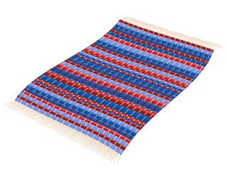 Rag rug - red and blue woven vintage patchwork mat flying like a magic carpet. Isolated vector illustration over white background.