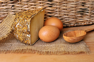 Sbirro talian cheese with countrified background