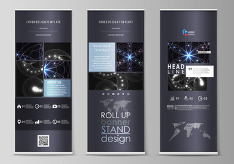 Set of roll up banner stands, flat design templates, abstract geometric style, corporate vertical vector flyers, flag layouts. Sacred geometry, glowing geometrical ornament. Mystical background.