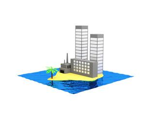 Разрушение окружающей среды на острове в океане.
