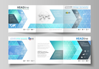 Set of business templates for tri fold square design brochures. Leaflet cover, vector layout. Chemistry pattern, connecting lines and dots, molecule structure, medical DNA research. Medicine concept.