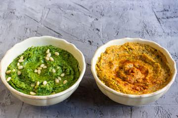 Colorful hummus bowls