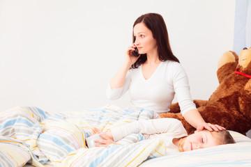 Concerned Mother Talking On Phone