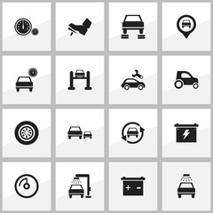 Set Of 16 Editable Vehicle Icons. Includes Symbols Such As Vehicle Wash, Race, Automobile And More. Can Be Used For Web, Mobile, UI And Infographic Design.