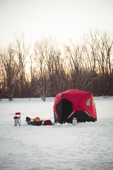 View of tent in snowy landscape