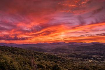 Photo sur Plexiglas Bordeaux Sunset from Flat Rock Overlook off the Blue Ridge Parkway