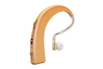 Hearing aid closeup, 3D rendering